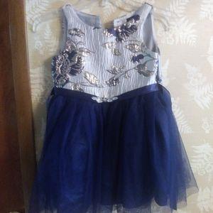 Zunie formal dress girls blue silver